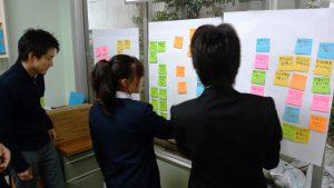 菊屋浦上商事でポストイットを使った会議手法を行う中学生