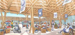 津久井産材で建設される「選手村ビレッジプラザ」のイメージ