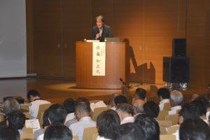 相模原における自動化のメリットを話す佐藤名誉教授