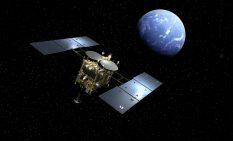 地球に接近するはやぶさ2(イメージ)=JAXA提供